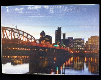 Wood Transfer Photo Block Art Panel 5x7 - Hawthorne Bridge at Night - City Landscape Portland Oregon River - Wall, Shelf, Desk Decoration