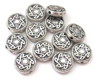 Round disc shape silver finish dual sided sun rays design metal beads - 10 beads - BD557