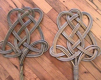 Antique Woven Rattan Rug Beaters - Set of Two