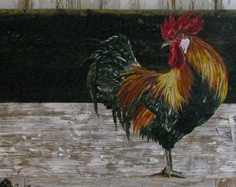 Rooster original acrylic painting on reclaimed rustic solid wood board