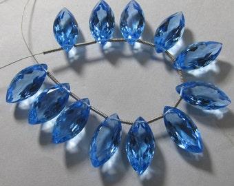 5 Matched Pairs - SKY BLUE  QUARTZ - Super Sparkle Fine Cut Marquise Briolettes 9x18 mm Long Size