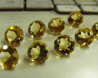 10 pcs - 7x7 mm - Fine Cut - Natural CITRINE - Round Faceted stone Eye Clean Sparkle