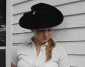 Vintage Tilt Hat Black Velvet Cartwheel Old Hollywood Glamour Platter Picture