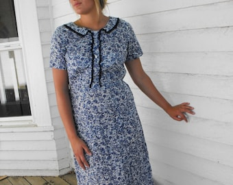 Vintage 50s Print Dress White Blue Scenic Peg Palmer L M