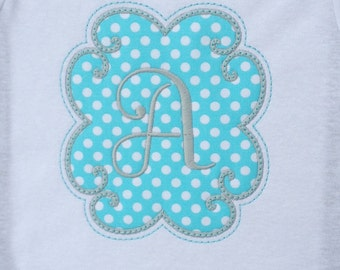 Girls'  Personalized Aqua and Grey Initial  T-Shirt or Bodysuit