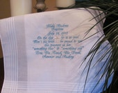 Personalized Baptism/Christening machine embroidered wedding handkerchief by Sweet Sewing Jeans