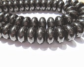 Gemstone Beads, Black Jet Chunky Rondelle, Large tribal World Black Jet Lightweight Beads, 14x7mm 1/2 strand