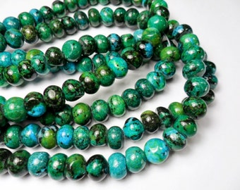 Gemstone Beads, Chrysocolla  Rondelle  Beads, Large tribal ,World, Green Blue Beads, 10x8mm  4-8 inches