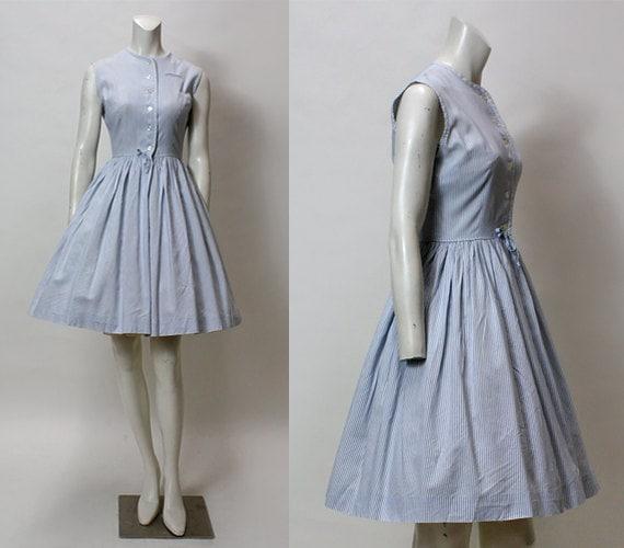 50s Dress // Vintage 1950s Day Dress // Sleeveless Blue White