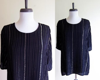 Vintage 1990s Blouse / GOLDEN STRIPE HOLIDAY Black Viscose Slouch Blouse / Size Medium or Large