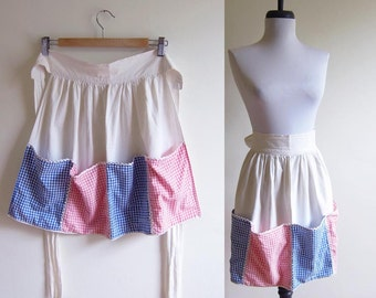 Vintage 1960s Apron / PINK & BLUE GINGHAM Cotton Apron