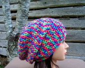 womens crochet slouchie beanie neon multi colored girls slouch hats slouch hats for women pink blue green orange purple youth/adult 9284