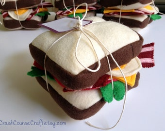 Felt Sandwich Set  -  Felt Bacon Felt Club Sandwich - Play food toy felt kitchen -Play sandwich Felt Food