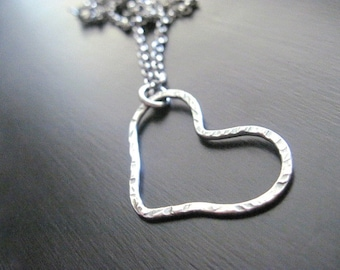 Oxidized Textured Sterling Silver Heart Necklace