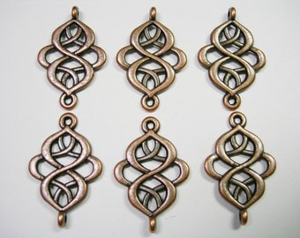 Antique Copper plated swirls drops, loops, connectors, links, 6 - 28mm