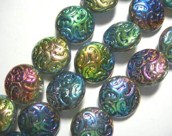 10 Lovely Czech Glass Button BEADS 14mm Vitrail 2X AB