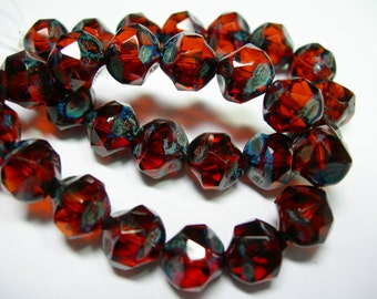 15 8mm Root Beer Crystal Travertine Firepolished Thru Cuts Czech Glass Beads