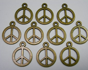 Antiqued Bronze Peace Sign Drops, Charms - 15mm - 10 pieces