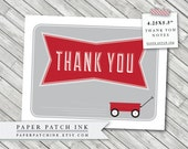 Red Wagon Thank you note cards PDF Digital File - Printable DIY - 4.25x5.5 inch - Baby Shower or Birthday