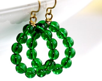 Green Glass Hoop Earrings - 'Loose Cannon'