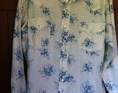Vintage Western Floral Pearl Snap Shirt-Rockabilly, Rodeo, Buckaroo