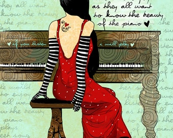 The Piano / original illustration ART Print Hand SIGNED size 8 x 10 NEW
