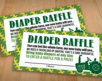 TRACTOR Raffle Ticket in Green and Yellow- Instant Printable Download