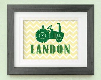 TRACTOR Personalized Printable Nursery Art in Yellow and Green