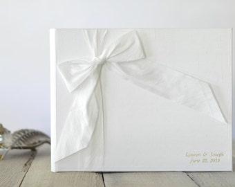 Personalized Photo Album - Unique Guest Book - Silk Dupioni Bow by Claire Magnolia