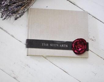 Custom Boudoir Photo Album - Velvet Sash & Handmade Silk Flower Custom Book design by Claire Magnolia.