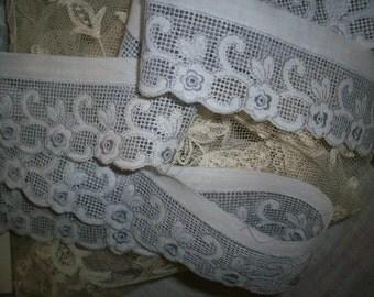 1 yd. antique slate blue/white fine cotton embroidered trim, yardage