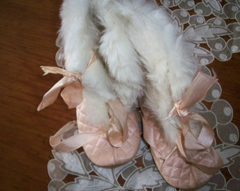 Victorian silk and fur, baby shoes with leather soles in good condition
