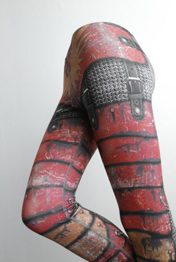 Armour Leggings - Size XXL Red - Printed Chainmail Tights