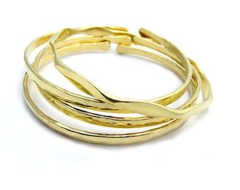 Adjustable Shimmering  Brass Bangles Set Of  Four