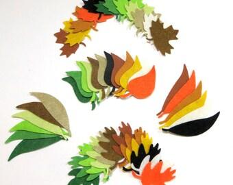 96 Piece Die Cut Small Felt Autumn Leaves