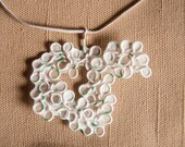 Jena: Handmade Paper and Upcycled Wire Necklace - White and Green Ecofriendly Pendant - Paper Jewelry