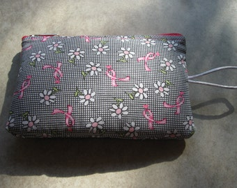 daisy and pink ribbon padded makeup jewelry bag