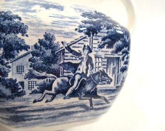 Vintage Staffordshire Liberty Blue Paul Revere Creamer