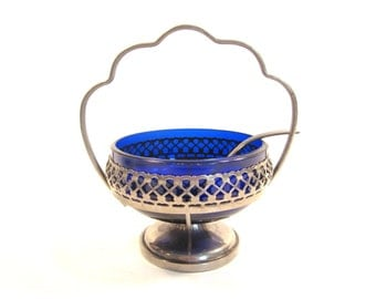 Vintage Cobalt Blue Glass and Silverplate Relish Dish with Spoon
