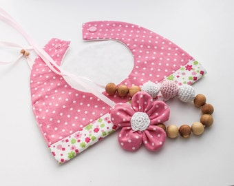 Girly Pink Gift Set: Nursing Necklace/Teething and Baby Bib Made in Israel by CasaDeGato