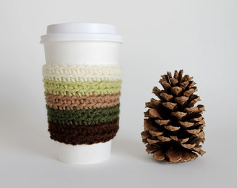 Forest Green Ombre Crochet Java Sleeve - Coffee Cozy
