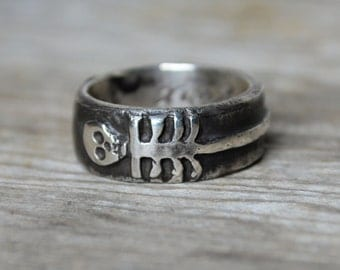 Sterling Silver Till Death Us Do Part Ring, Skeleton, Promise Ring, Wedding Ring, Engagement Ring, Band, Stacking Ring, Silver Ring, Stars