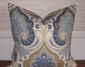 Decorative Pillow Cover:  Kravet Designer Paisley Linen 20 X 20 Accent Throw Pillow Cover