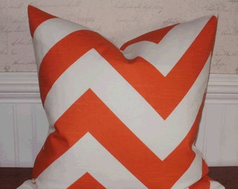 SALE ~ Decorative Pillow:  18 X 18 Designer Accent Throw Pillow Cover in Large Chevron Tangerine...Home & Living...Home Decor