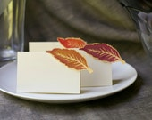 Autumn Wedding Place Cards featuring Purple Fall Leaves