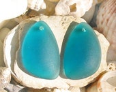 2pcs PEACOCK TEAL 25mm earring size Eclipse sea beach glass teardrop pendant bead frosted drop recycled matte