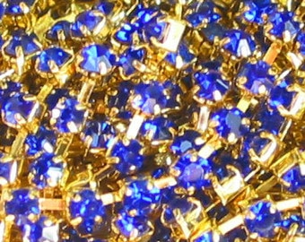 3 feet ROYAL BLUE 3mm 12SS Rhinestone gold plated brass chain trim - middle east stone - 36 inches