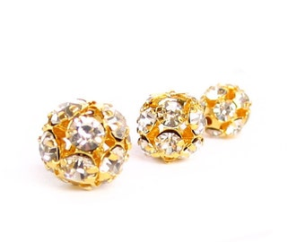 10pcs - 6mm 8mm 10mm 12mm Crystal Clear / AB - Gold rhinestone ball charm pendant round beads metal findings 3D - PICK SIZE