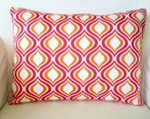 OUTDOOR Decorative Pillow, Throw Pillow, Cushion Cover, Lumbar Raspbery Orange White Indoor Outdoor One 12 x 16 or 12 x 18