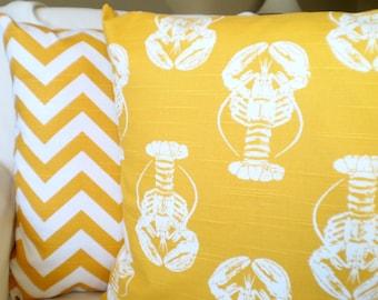 Yellow White Nautical Pillow Covers Decorative Throw Pillows Nautical Cushion Covers Corn Yellow White Lobster Chevron Set Two Various Sizes